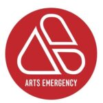 Arts Emergency's Logo is a red circle with a triangle shaped mobius strip in the middle