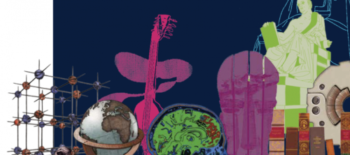 A dark blue background covered in illustrations of an atomic model, a globe, a brain, a guitar, statues and books.