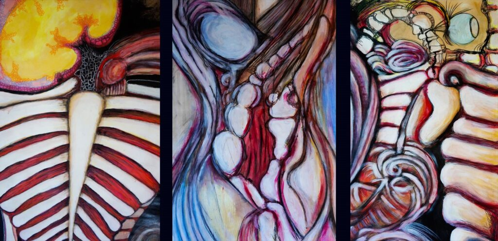 Three fabstract paintings with fleshy, rib-like forms
