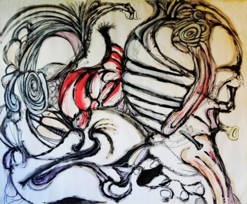 Abstract painting which resembles visceral intestinal forms