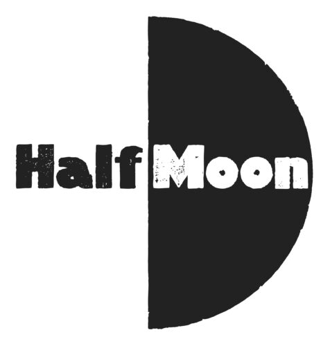 Half in black on a white background next to a black vertical half circle with moon written within it in white.