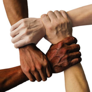 four hands of different coloured skin grasp each other