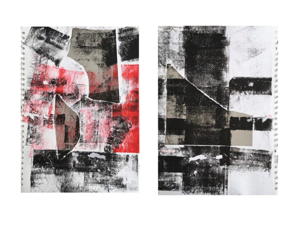 Two pieces of artwork sat side by side. One is black and red and the other is black and white. It is an abstract piece combining collage and ink rolled onto the page.