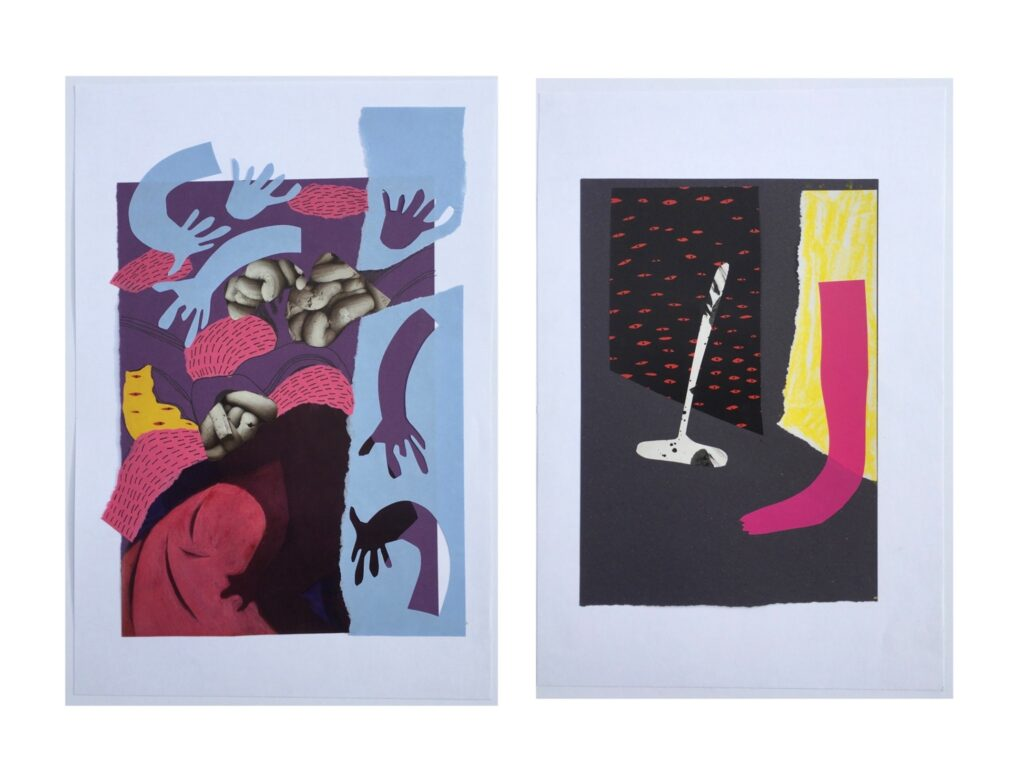 Two collage pieces. On the left is a busy collage with blues, pinks and purples, hands are writhing in and out of what looks like other body parts. On the right is a more calm collage, a leg sticks out of a yellow doorway while an angled broom lies against the wall.