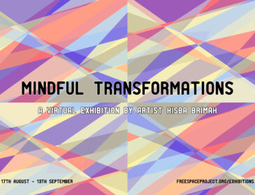 A brightly cloured geometric background with the words mindful transformations written across the centre.