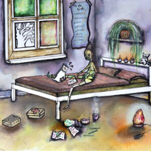 Coloured artwork of a figure sitting on a bed with her cat