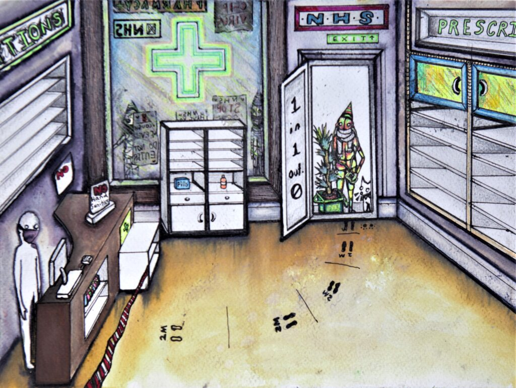 Coloured artwork of a figure walking into a chemist with empty shelves