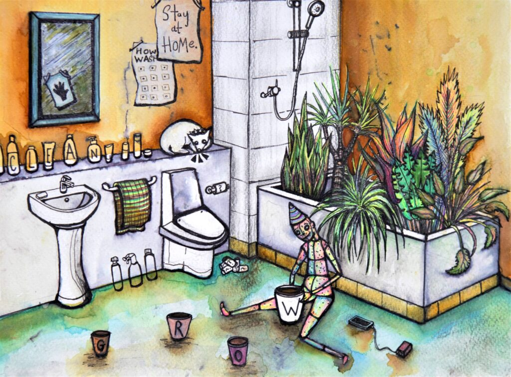 Coloured artwork of a figure sitting on a bathroom floor attending to a pot with the letter 'w' on it.