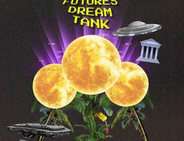Collage image showing three palm trees with moons atop them, 2 sci-fi spaceships and the text, Art Futures Dream Tank
