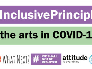 Text banner white text on a purple and then a green stripe which reads 7 Inclusive Principles for the arts in Covid-19