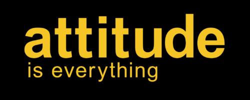 Attitiude is everything logo, orange text on black background