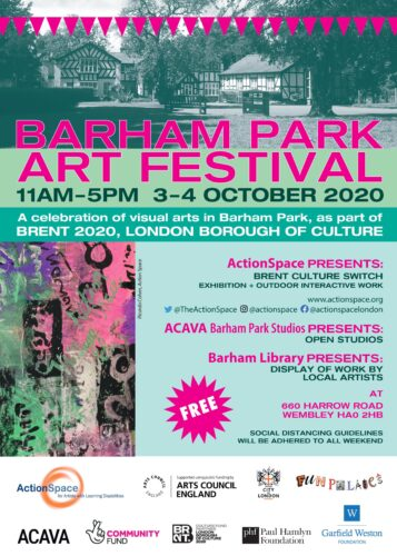 Poster for Barham Park Art Festival with a photo of the artist studio building and information about the event.