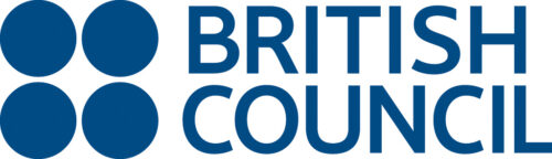 British Council logo. 4 blue dots forming a square next to British Council in blue capitals.