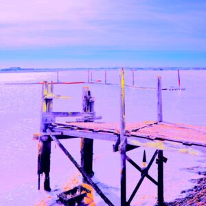 Photograph of a broken jetty with colours adjusted to give it a purple hue