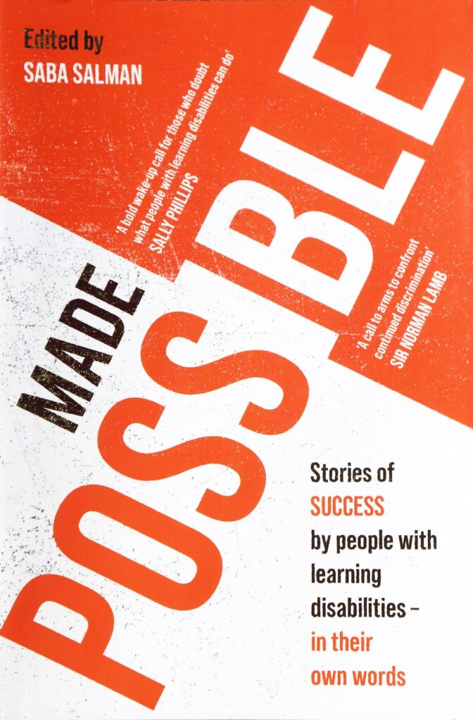 Book cover with the words Made Possible on it. Orange and white.