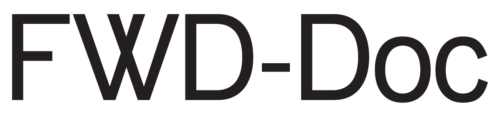 Black and white text logo that says FWD-Doc