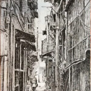 Etching showing a built up back lane with high buildings and a motorbike