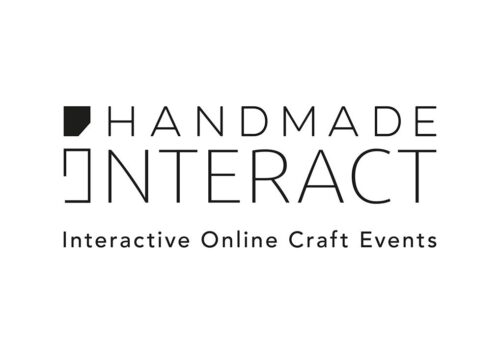 Handmade Interact, Interactive Online Craft Events  in black text on a white background.