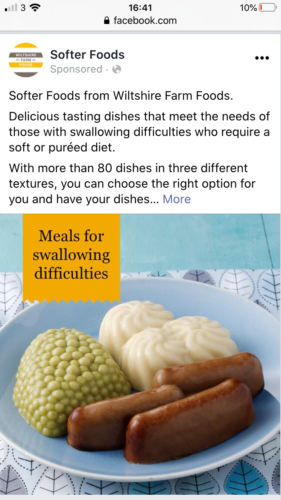 A food ad on Facebook showing weirly shaped sausages, a bizarre mound of pes and mashed potato in a swirl