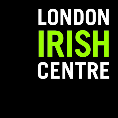 A dark grey square with 'London Irish Centre' in the top right hand corner. London and Centre are in white capitals, Irish is in larger green capitals between them.