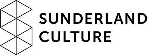 Sunderland Culture in black capitals on a white background to the right of an S made up of 8 triangles with black outlines.