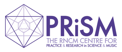 A purple outline of a prism next to purple text that reads: PRiSM The RNCM Centre For Practice & Research in Science & Music.