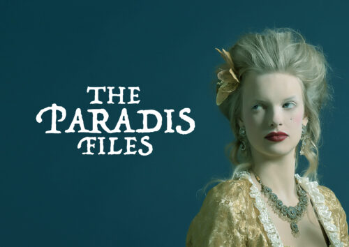 A graphic showing a woman in 18th century costume/hair, with text next to her reading The Paradis Files, against a teal background