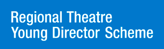 Regional Theatre Young Director Scheme in white text on a blue background.