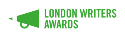 London Writers Awards text in green capitals to the left of a green megaphone.