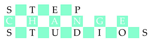 Step Change Studios logo consisting of three rows of blue and white squares with letters of company name in every other square