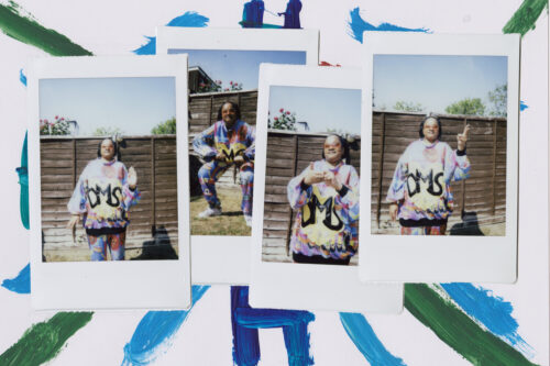 A composite image of four instax photographs on a painted background. In the photographs, Danielle wears her colourful D.M.S. costume and shows off different dance moves in her garden!