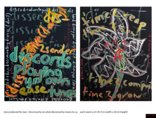 two artworks made of hand-painted text on a black background