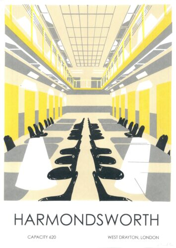An illustration of the inside of the Harmondsworth detention centre in yellow, grey, white and black. Below the image reads Harmondsworth, Capacity 620, West Drayton London.