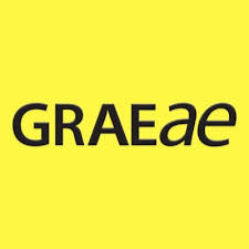 Graeae's logo, which just reads 'GRAEAE' against a yellow background.