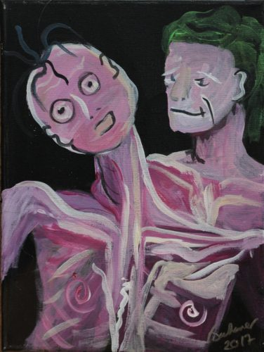 Painting of two ghoulish figures,