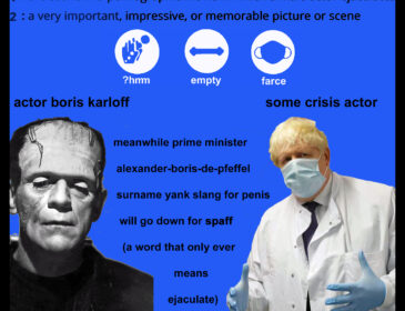 Collage showing the definition of money shot, next to the crossed out word moonshoot. It also features Boris Karloff as Frankenstein's monster and Boris Johnson in a mask and surgical gloves