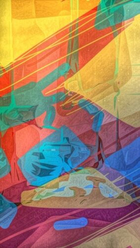 A digitally drawn abstract image of shapes lines and colours