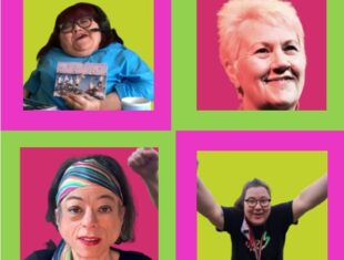 Four women disabled actor portraits on a pnik and green neon background. Liz Carr, Mandy Colleran, Bea Webster and Vici Wreford-Sinnott