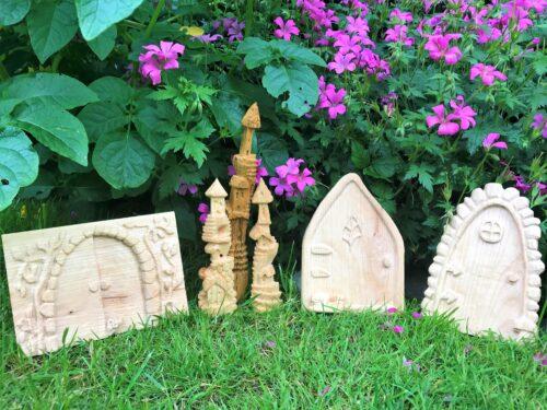 Ornamental wood carvings of shrine-like objects