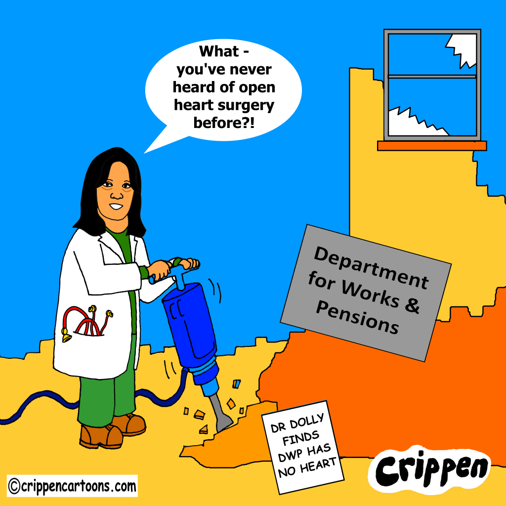 cartoon about Dolly Sen's DWP action