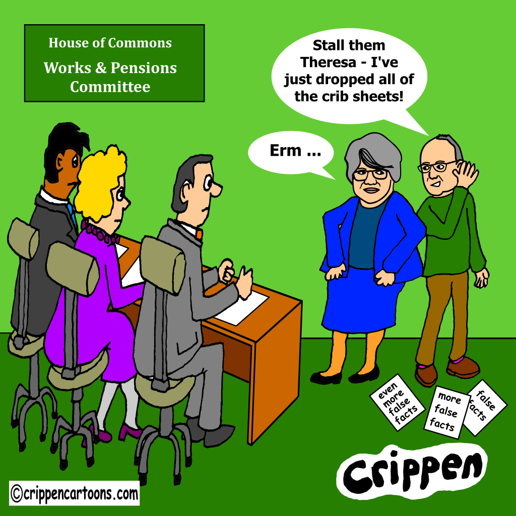 a cartoon of Theresa Coffey in front of select committee