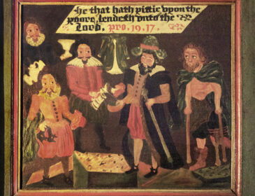 """An image of a painting which depicts people receiving poor relief in the early modern period. One of the applicants has lost his leg and is using crutches. Old-fashioned writing reads """"he that hath pittie upon the poore lendeth unto the lord""""."""