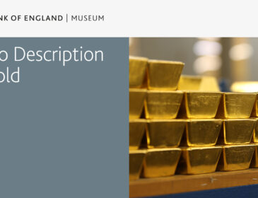 Box of text and image. Text is written 'Bank of England Museum Audio description of Gold'. Next to it is an image of stacks of gold bars.