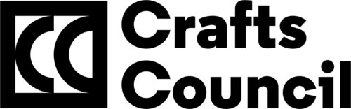 A black outline of a square with CC inside. To the right black text reads: Crafts Council