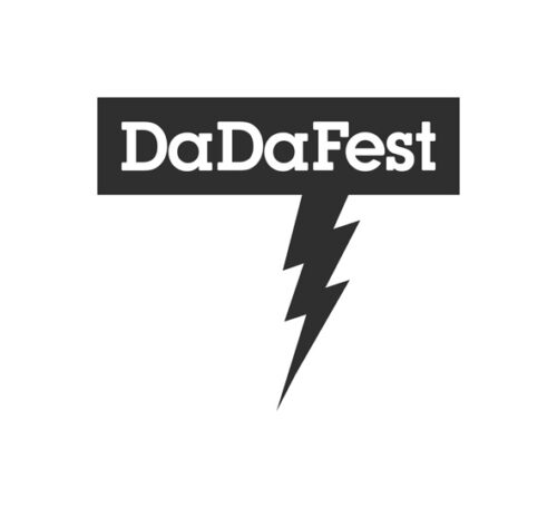 The logo of DaDaFest is the name of the company with a lightning strike underneath it