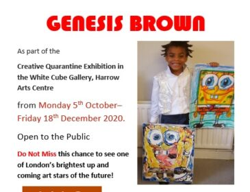 A poster for the exhibition with details from the listing and a photo of Genesis, a young black boy, stood holding two paintings of spongebob squarepants.