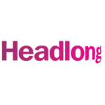 Logo for Headlong Theatre, which is the name of the company in bright pink text set against a white background.