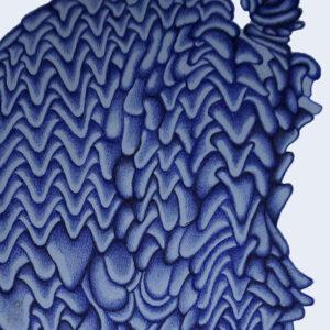 blue tesselated form made up of vertebrae