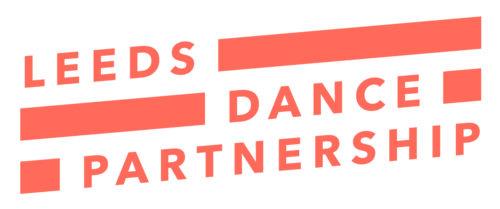 Leeds Dance Partnership Logo. In orange capital type interspersed with bold orange lines between words.