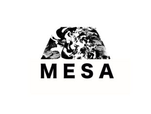 A black and white logo sits in front of a white background. The logo is a block that looks like the top of a flat topped mountain, and has thick lettering in black underneath which says MESA. The block is made up of a black and white pattern in a swirling motion.